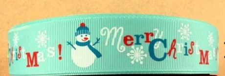 1M OF BLUE/GREEN SNOWMAN MERRY CHRISTMAS RIBBON IN SIZE INCH XMAS HEADBANDS BOWS CARD MAKING